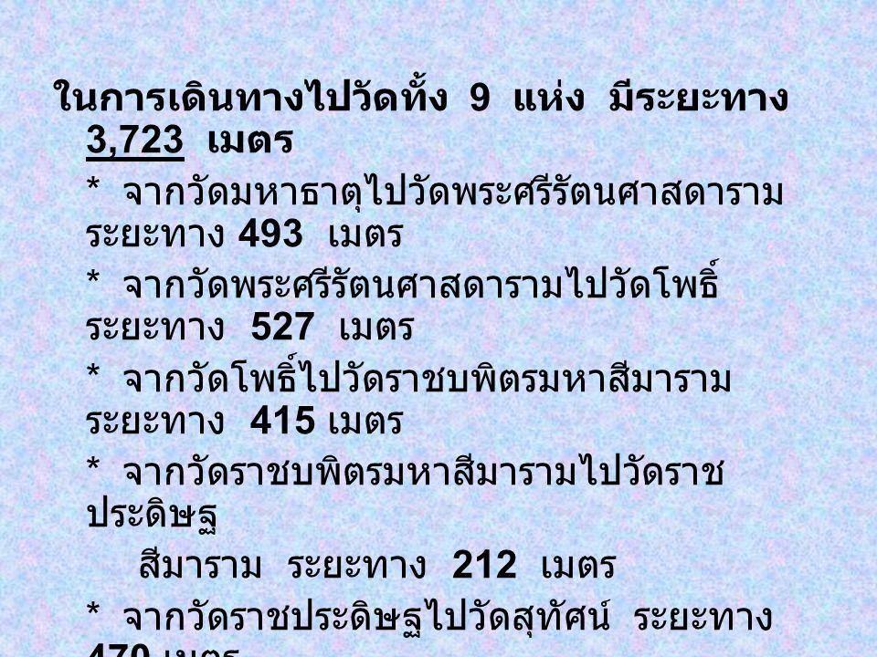 ในการเดินทางไปวัดทั้ง 9 แห่ง มีระยะทาง 3,723 เมตร * จากวัดมหาธาตุไปวัดพระศรีรัตนศาสดาราม ระยะทาง 493 เมตร * จากวัดพระศรีรัตนศาสดารามไปวัดโพธิ์ ระยะทาง 527 เมตร * จากวัดโพธิ์ไปวัดราชบพิตรมหาสีมาราม ระยะทาง 415 เมตร * จากวัดราชบพิตรมหาสีมารามไปวัดราช ประดิษฐ สีมาราม ระยะทาง 212 เมตร * จากวัดราชประดิษฐไปวัดสุทัศน์ ระยะทาง 470 เมตร * จากวัดสุทัศน์ไปวัดราชนัดดา ระยะทาง 513 เมตร * จากวัดราชนัดดาไปวัดบวรนิเวศน์ ระยะทาง 454 เมตร * จากวัดบวรนิเวศน์ไปวัดชนะสงคราม ระยะทาง 639 เมตร