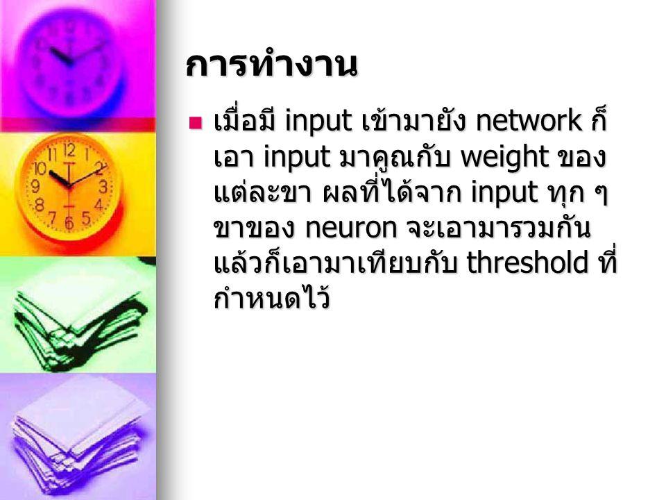 การทำงาน เมื่อมี input เข้ามายัง network ก็ เอา input มาคูณกับ weight ของ แต่ละขา ผลที่ได้จาก input ทุก ๆ ขาของ neuron จะเอามารวมกัน แล้วก็เอามาเทียบก