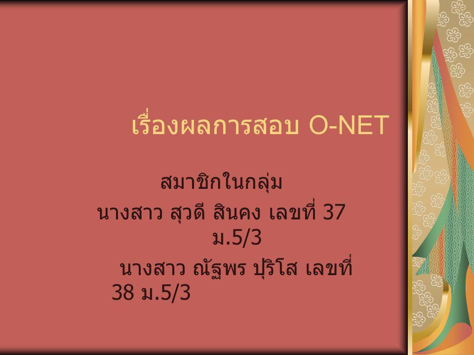 เรื่องผลการสอบ O-NET สมาชิกในกลุ่ม นางสาว สุวดี สินคง เลขที่ 37 ม.5/3 นางสาว ณัฐพร ปุริโส เลขที่ 38 ม.5/3
