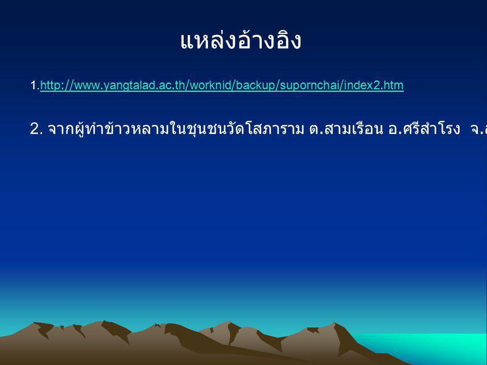 แหล่งอ้างอิง 1.http://www.yangtalad.ac.th/worknid/backup/supornchai/index2.htmhttp://www.yangtalad.ac.th/worknid/backup/supornchai/index2.htm 2. จากผู