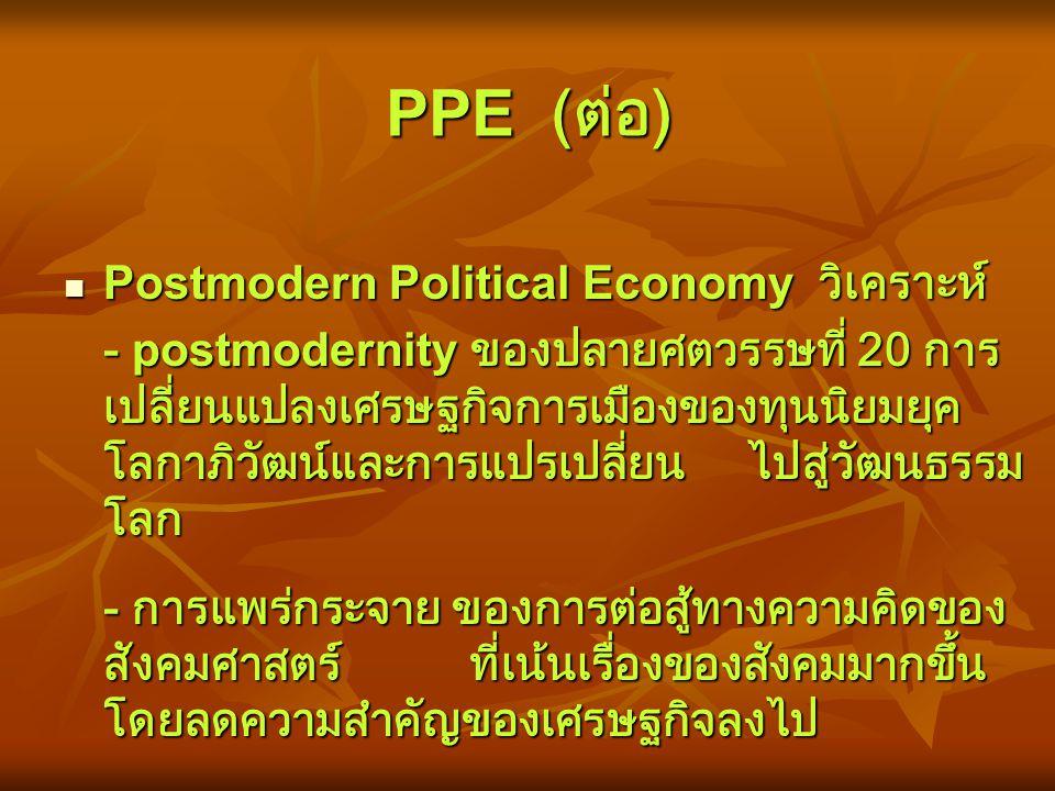 Postmodern Political Economy (PPE) ในช่วงทศวรรษที่ผ่าน ความคิดแบบ postmodern เริ่มมีความสำคัญมากขึ้น โดยเฉพาะอย่างยิ่งใน วงการสังคมศาสตร์ ทฤษฎีต่าง ๆ