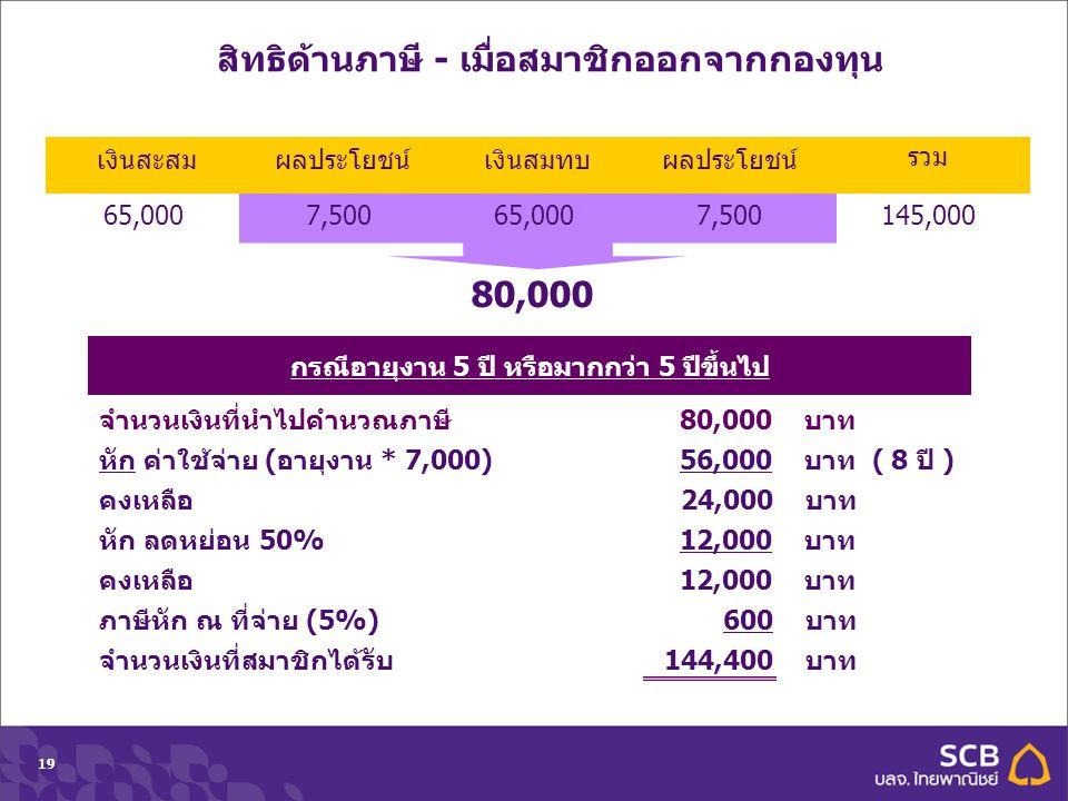 Department Topic Date (Tahoma 10pt)19 กรณีอายุงาน 5 ปี หรือมากกว่า 5 ปีขึ้นไป 80,000 จำนวนเงินที่นำไปคำนวณภาษี 80,000 บาท หัก ค่าใช้จ่าย (อายุงาน * 7,