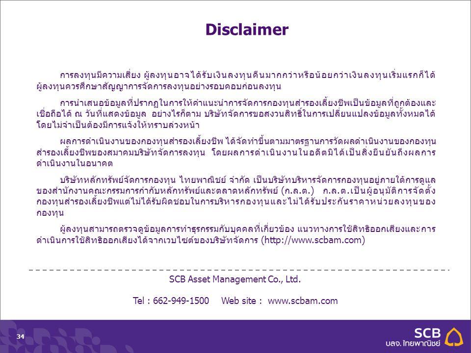 Department Topic Date (Tahoma 10pt)34 SCB Asset Management Co., Ltd. Tel : 662-949-1500 Web site : www.scbam.com การลงทุนมีความเสี่ยง ผู้ลงทุนอาจได้รั