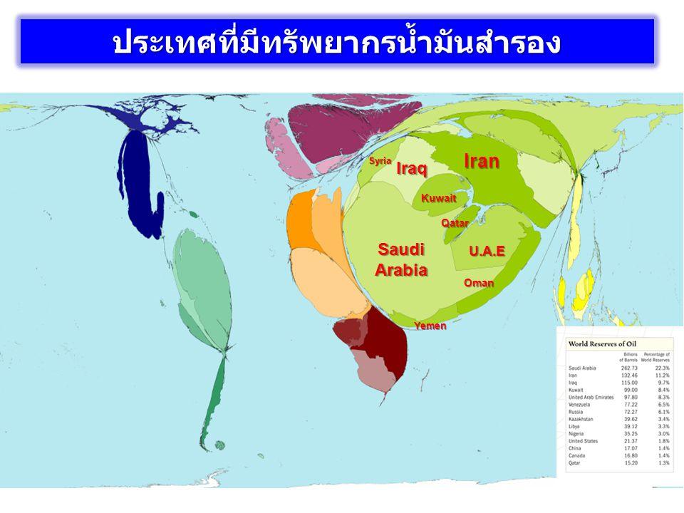 แหล่งน้ำมันที่พบส่วนใหญ่ในภูมิภาคตะวันออก กลาง ตั้งอยู่โดยรอบอ่าวเปอร์เซียเป็นส่วนใหญ่