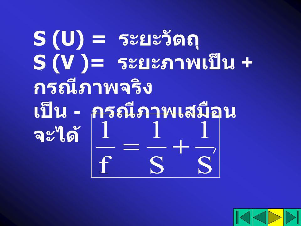 S (U) = ระยะวัตถุ S (V )= ระยะภาพเป็น + กรณีภาพจริง เป็น - กรณีภาพเสมือน จะได้