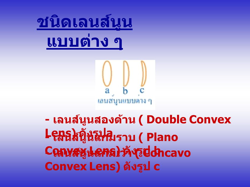 ชนิดเลนส์นูน แบบต่าง ๆ - เลนส์นูนสองด้าน ( Double Convex Lens) ดังรูป a - เลนส์นูนแกมราบ ( Plano Convex Lens) ดังรูป b - เลนส์นูนแกมเว้า ( Concavo Convex Lens) ดังรูป c