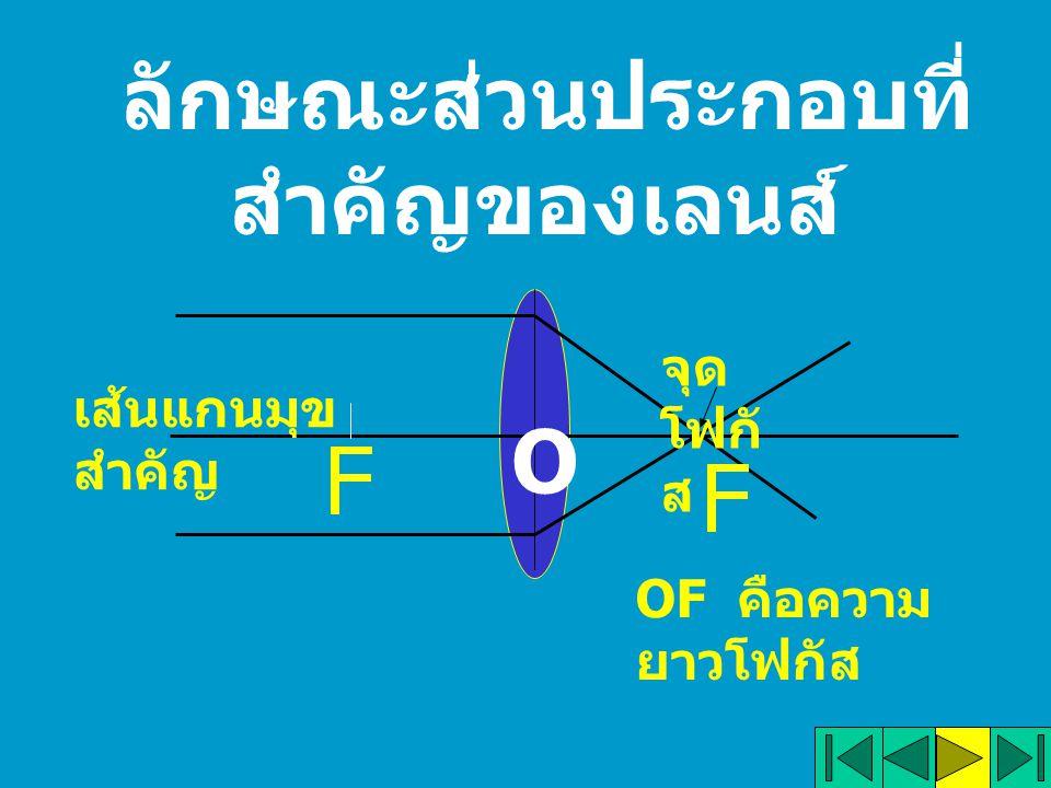 ลักษณะส่วนประกอบที่ สำคัญของเลนส์ O เส้นแกนมุข สำคัญ จุด โฟกั ส OF คือความ ยาวโฟกัส