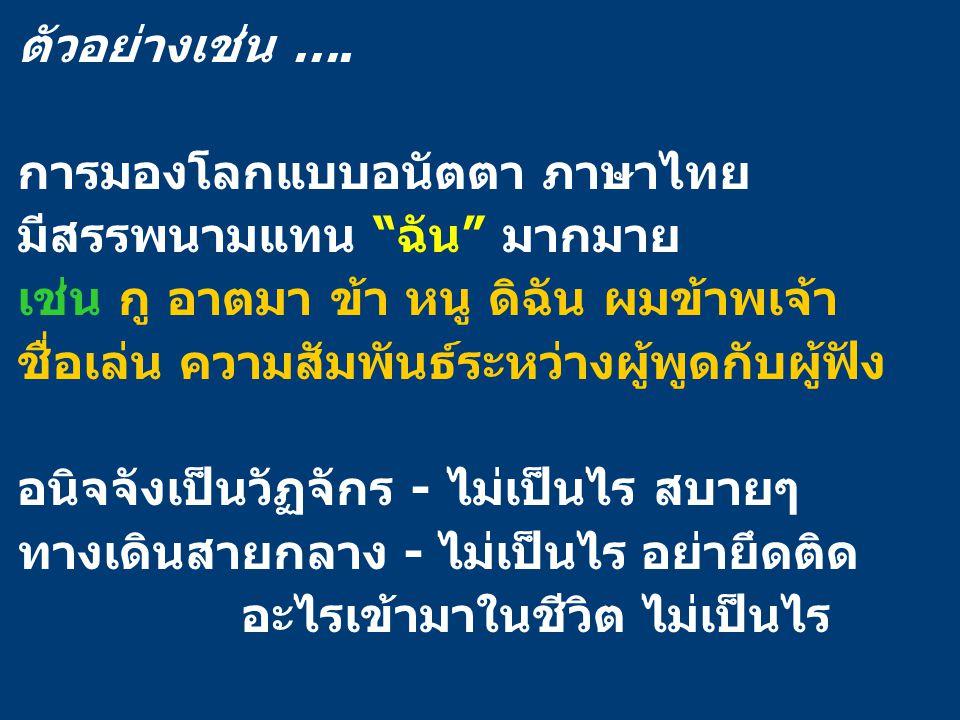 """ตัวอย่างเช่น …. การมองโลกแบบอนัตตา ภาษาไทย มีสรรพนามแทน """"ฉัน"""" มากมาย เช่น กู อาตมา ข้า หนู ดิฉัน ผมข้าพเจ้า ชื่อเล่น ความสัมพันธ์ระหว่างผู้พูดกับผู้ฟั"""