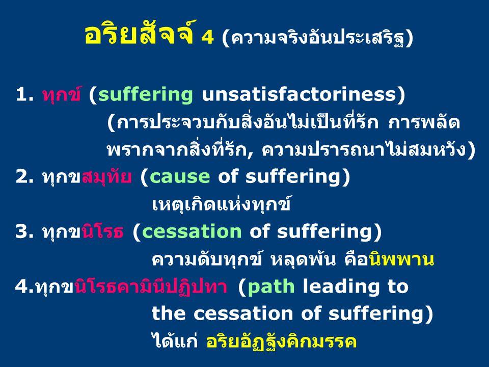 อริยสัจจ์ 4 ( ความจริงอันประเสริฐ ) 1. ทุกข์ (suffering unsatisfactoriness) ( การประจวบกับสิ่งอันไม่เป็นที่รัก การพลัด พรากจากสิ่งที่รัก, ความปรารถนาไ