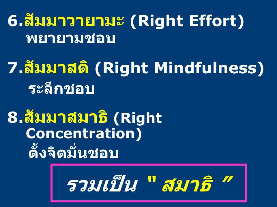 """6. สัมมาวายามะ (Right Effort) พยายามชอบ 7. สัมมาสติ (Right Mindfulness) ระลึกชอบ 8. สัมมาสมาธิ (Right Concentration) ตั้งจิตมั่นชอบ รวมเป็น """" สมาธิ """""""