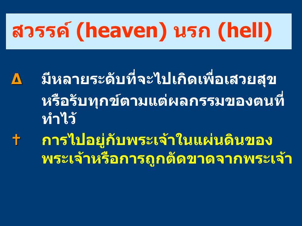 สวรรค์ (heaven) นรก (hell) ∆ ∆ มีหลายระดับที่จะไปเกิดเพื่อเสวยสุข หรือรับทุกข์ตามแต่ผลกรรมของตนที่ ทำไว้   การไปอยู่กับพระเจ้าในแผ่นดินของ พระเจ้าหร