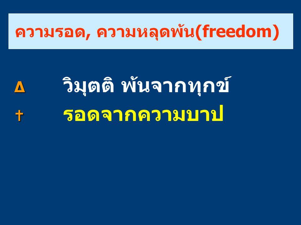 ความรอด, ความหลุดพ้น(freedom) ∆ ∆ วิมุตติ พ้นจากทุกข์   รอดจากความบาป