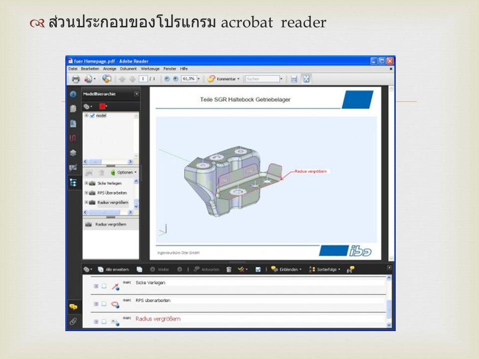   ส่วนประกอบของโปรแกรม acrobat reader