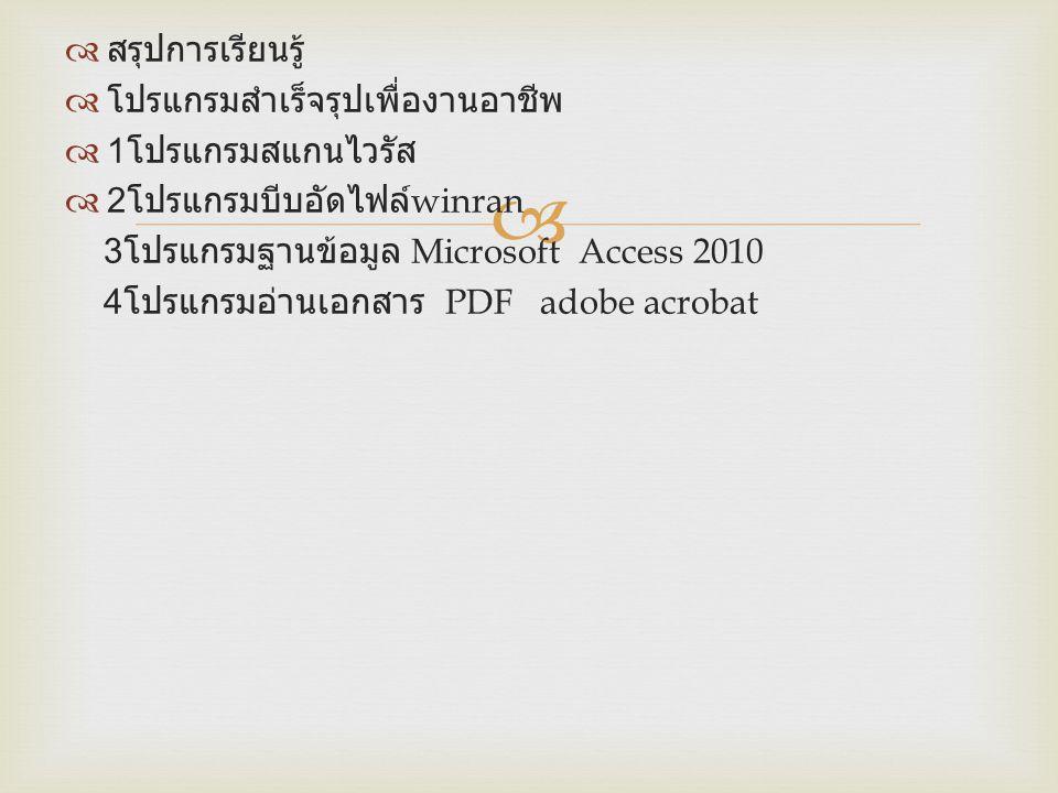   สรุปการเรียนรู้  โปรแกรมสำเร็จรุปเพื่องานอาชีพ  1 โปรแกรมสแกนไวรัส  2 โปรแกรมบีบอัดไฟล์ winran 3 โปรแกรมฐานข้อมูล Microsoft Access 2010 4 โปรแก