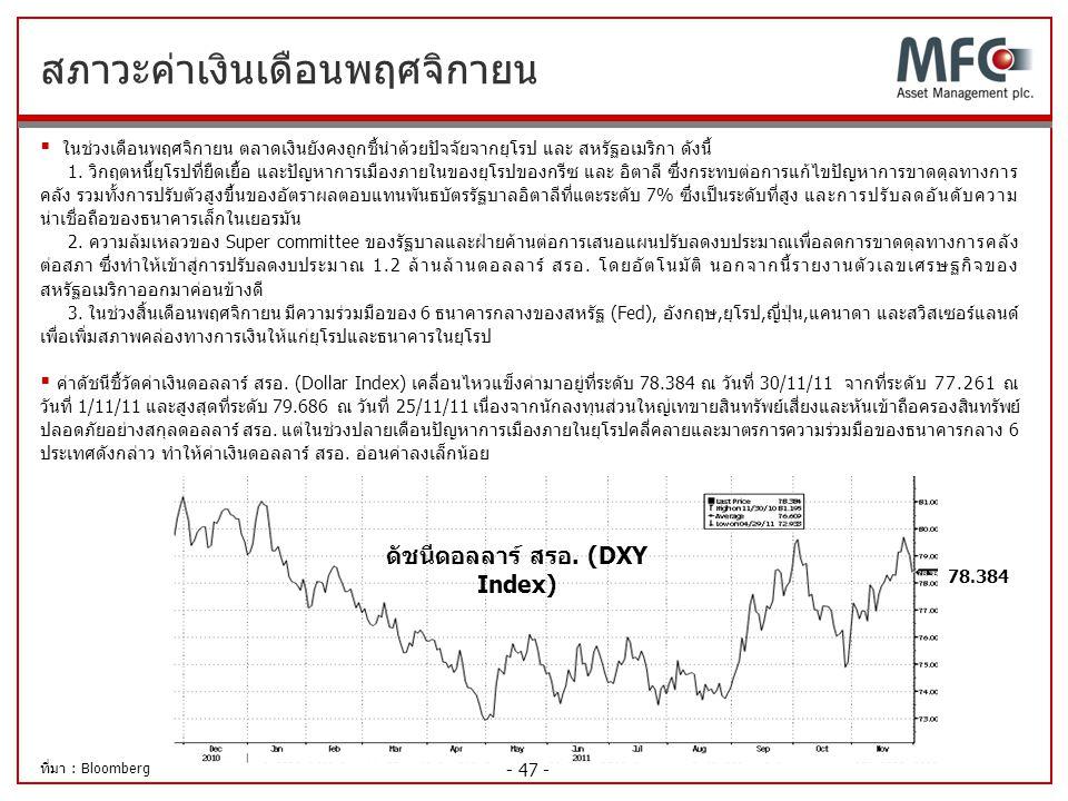 - 47 - สภาวะค่าเงินเดือนพฤศจิกายน ดัชนีดอลลาร์ สรอ. (DXY Index)  ในช่วงเดือนพฤศจิกายน ตลาดเงินยังคงถูกชี้นำด้วยปัจจัยจากยุโรป และ สหรัฐอเมริกา ดังนี้