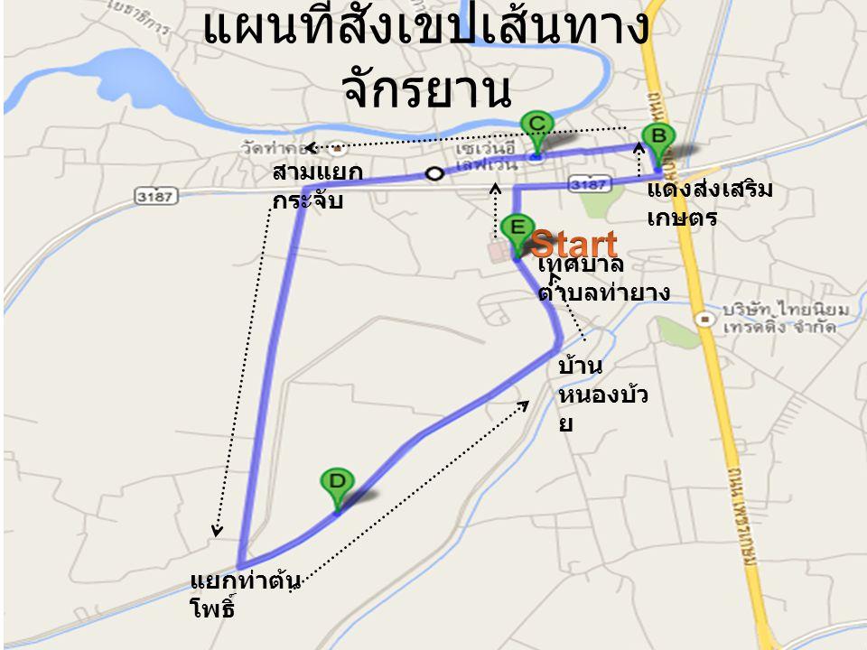 แผนที่สังเขปเส้นทาง จักรยาน เทศบาล ตำบลท่ายาง แดงส่งเสริม เกษตร สามแยก กระจับ แยกท่าต้น โพธิ์ บ้าน หนองบ้ว ย