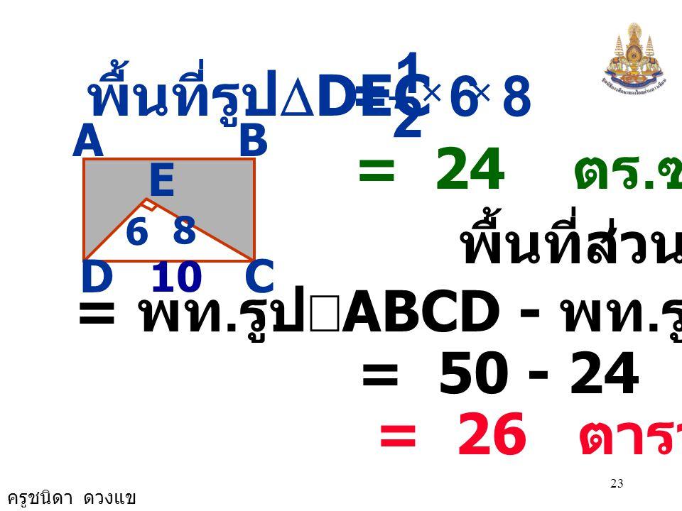 ครูชนิดา ดวงแข 22 AB CD E 8 6 ABCD เป็นรูป ผืนผ้า มีด้าน DC ยาว 10 ซม. BC ยาวเป็นครึ่งหนึ่ง DC ดังนั้น BC ยาว 5 ซม. พื้นที่ ผืนผ้า = กว้าง ×  ยาว = 5