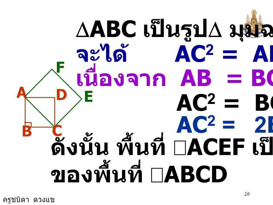ครูชนิดา ดวงแข 25 A B C D E F วิธีทำ ให้ ABCD เป็น จัตุรัส มี AC เป็นเส้นทแยงมุม และ ACEF เป็นจัตุรัสบนด้าน AC พื้นที่ จัตุรัส = ด้าน × ด้าน พื้นที่ขอ