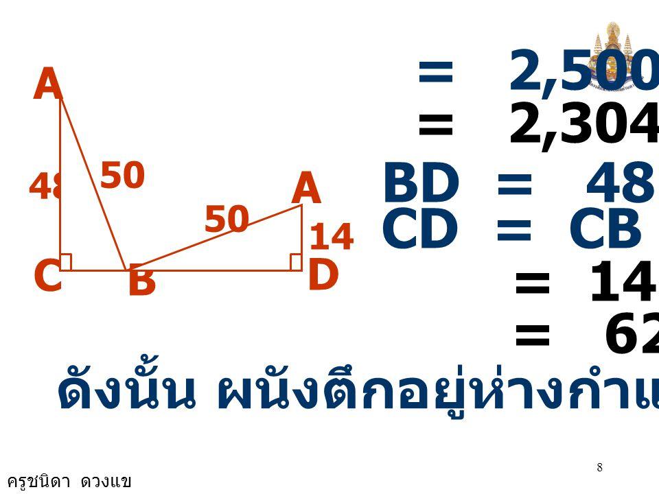 ครูชนิดา ดวงแข 8 A B 48 C D 50 14 50 A = 2,500 - 196 = 2,304 BD = 48 CD = CB + BD = 14 + 48 = 62 ดังนั้น ผนังตึกอยู่ห่างกำแพง 62 ฟุต
