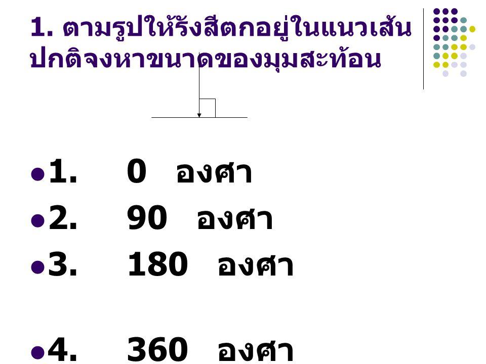 2. เส้นแนวฉาก หรือ เส้น ปกติ หมายถึงข้อใด 1. เส้นที่ลำแสงตกกระทบ 2.