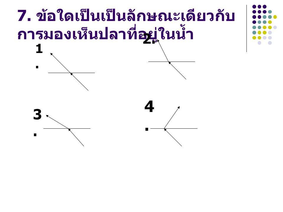 7. ข้อใดเป็นเป็นลักษณะเดียวกับ การมองเห็นปลาที่อยู่ในน้ำ 1.1. 2. 3.3. 4.4.