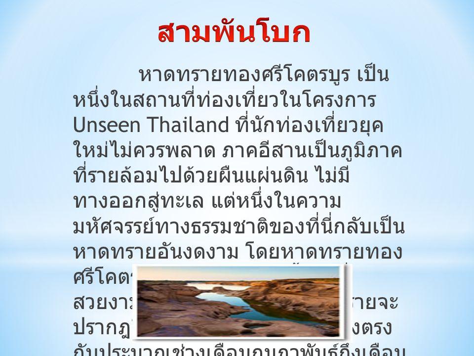 หาดทรายทองศรีโคตรบูร เป็น หนึ่งในสถานที่ท่องเที่ยวในโครงการ Unseen Thailand ที่นักท่องเที่ยวยุค ใหม่ไม่ควรพลาด ภาคอีสานเป็นภูมิภาค ที่รายล้อมไปด้วยผืนแผ่นดิน ไม่มี ทางออกสู่ทะเล แต่หนึ่งในความ มหัศจรรย์ทางธรรมชาติของที่นี่กลับเป็น หาดทรายอันงดงาม โดยหาดทรายทอง ศรีโคตรบูร เป็นหาดทรายน้ำจืดที่ สวยงามมากแห่งหนึ่ง โดยหาดทรายจะ ปรากฎให้เห็นในฤดูแล้งเท่านั้น ซึ่งตรง กับประมาณช่วงเดือนกุมภาพันธ์ถึงเดือน พฤษภาคม