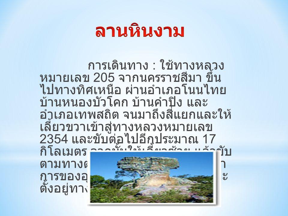 การเดินทาง : ใช้ทางหลวง หมายเลข 205 จากนครราชสีมา ขึ้น ไปทางทิศเหนือ ผ่านอำเภอโนนไทย บ้านหนองบัวโคก บ้านคำปิง และ อำเภอเทพสถิต จนมาถึงสี่แยกและให้ เลี้ยวขวาเข้าสู่ทางหลวงหมายเลข 2354 และขับต่อไปอีกประมาณ 17 กิโลเมตร จากนั้นให้เลี้ยวซ้าย แล้วขับ ตามทางต่อไปอีก 13 กิโลเมตร ที่ทำ การของอุทยานแห่งชาติป่าหินงามจะ ตั้งอยู่ทางด้านซ้ายมือ