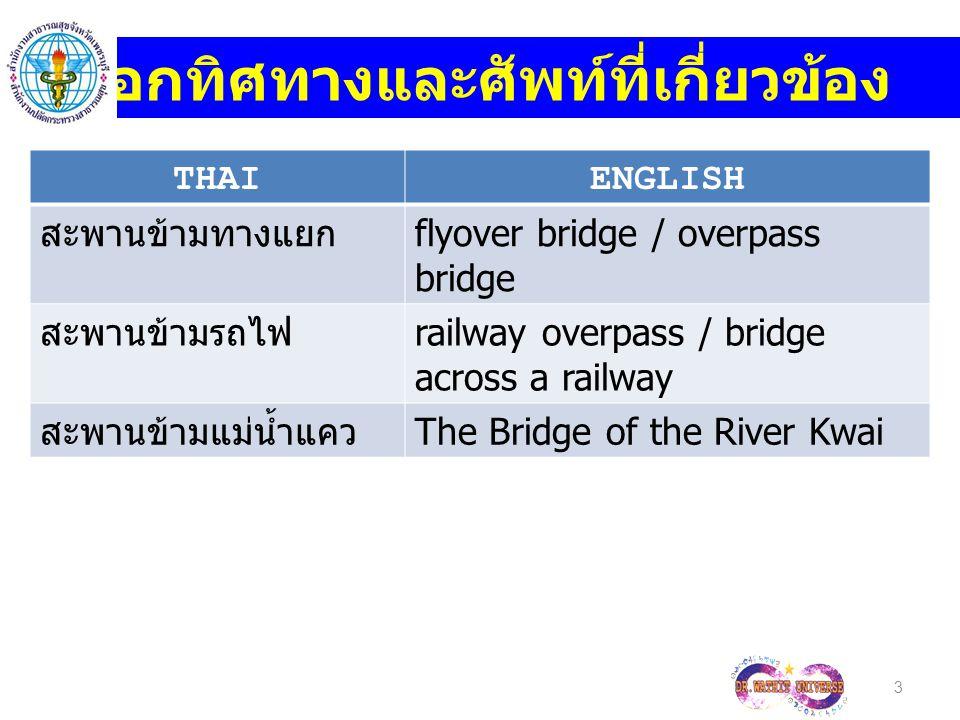 THAIENGLISH สะพานข้ามทางแยก flyover bridge / overpass bridge สะพานข้ามรถไฟ railway overpass / bridge across a railway สะพานข้ามแม่น้ำแคว The Bridge of the River Kwai 3 บอกทิศทางและศัพท์ที่เกี่ยวข้อง