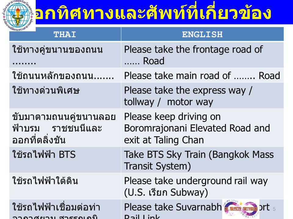 THAIENGLISH ใช้ทางด่วนพิเศษและ ต่อด้วย บูรพาวิถี Please take the express way and continued to Buraphawithi Elevated Road to Chonburi Province 6 บอกทิศทางและศัพท์ที่เกี่ยวข้อง