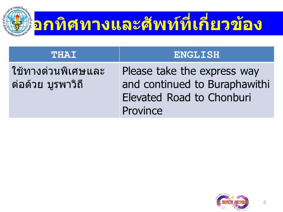 THAIENGLISH ช่วยบอกทางไปถนน เพชรเกษมหน่อย Could you tell me the way to Petchkasem Road.