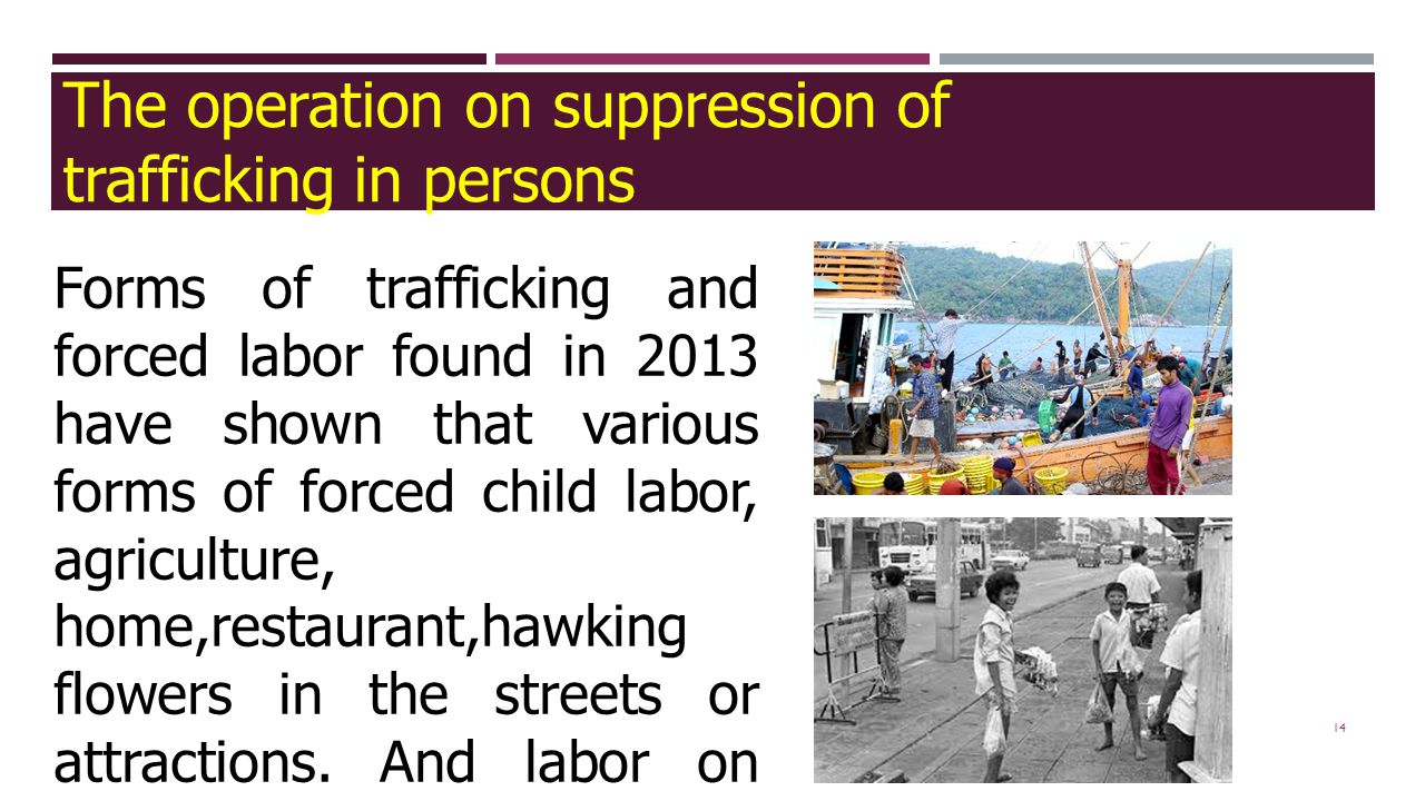 14 Forms of trafficking and forced labor found in 2013 have shown that various forms of forced child labor, agriculture, home,restaurant,hawking flowe