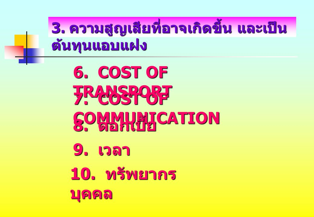 6. COST OF TRANSPORT 7. COST OF COMMUNICATION 8. ดอกเบี้ย 9. เวลา 10. ทรัพยากร บุคคล 3. ความสูญเสียที่อาจเกิดขึ้น และเป็น ต้นทุนแอบแฝง