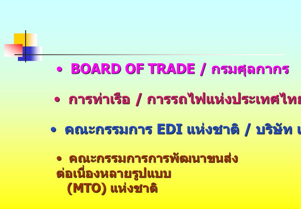 BOARD OF TRADE / กรมศุลกากร BOARD OF TRADE / กรมศุลกากร การท่าเรือ / การรถไฟแห่งประเทศไทย การท่าเรือ / การรถไฟแห่งประเทศไทย คณะกรรมการ EDI แห่งชาติ /