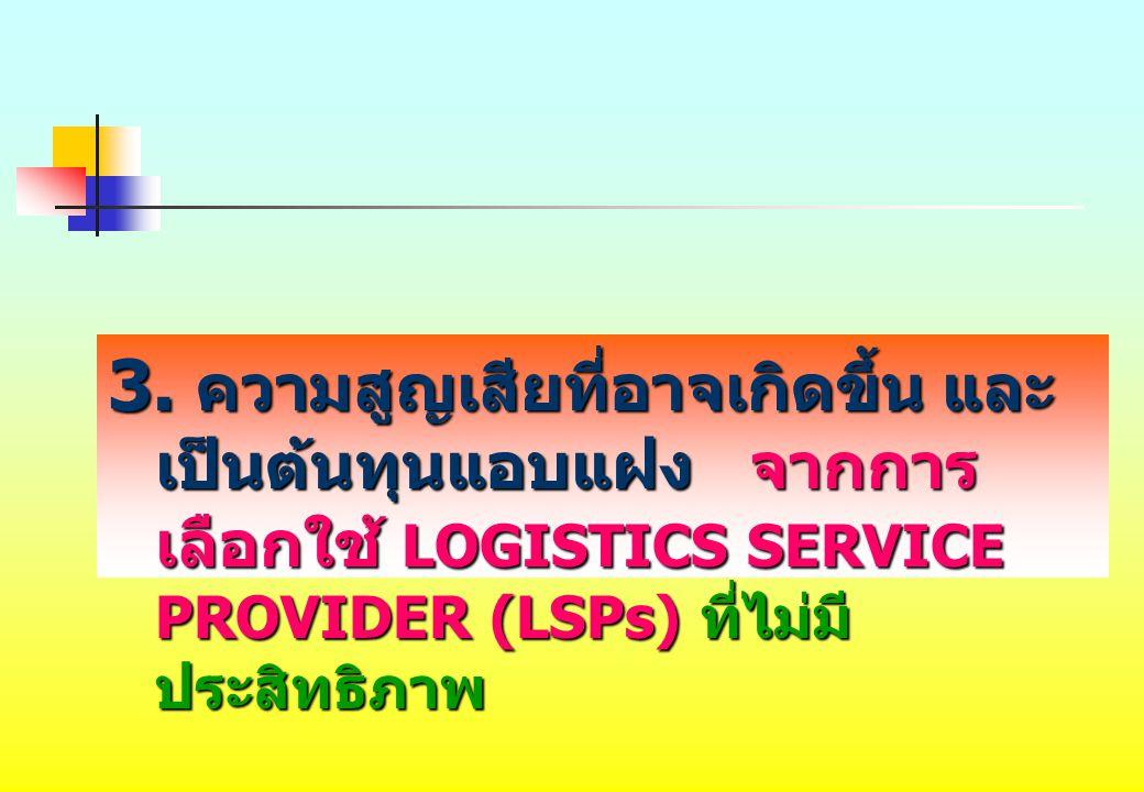 3. ความสูญเสียที่อาจเกิดขึ้น และ เป็นต้นทุนแอบแฝง จากการ เลือกใช้ LOGISTICS SERVICE PROVIDER (LSPs) ที่ไม่มี ประสิทธิภาพ