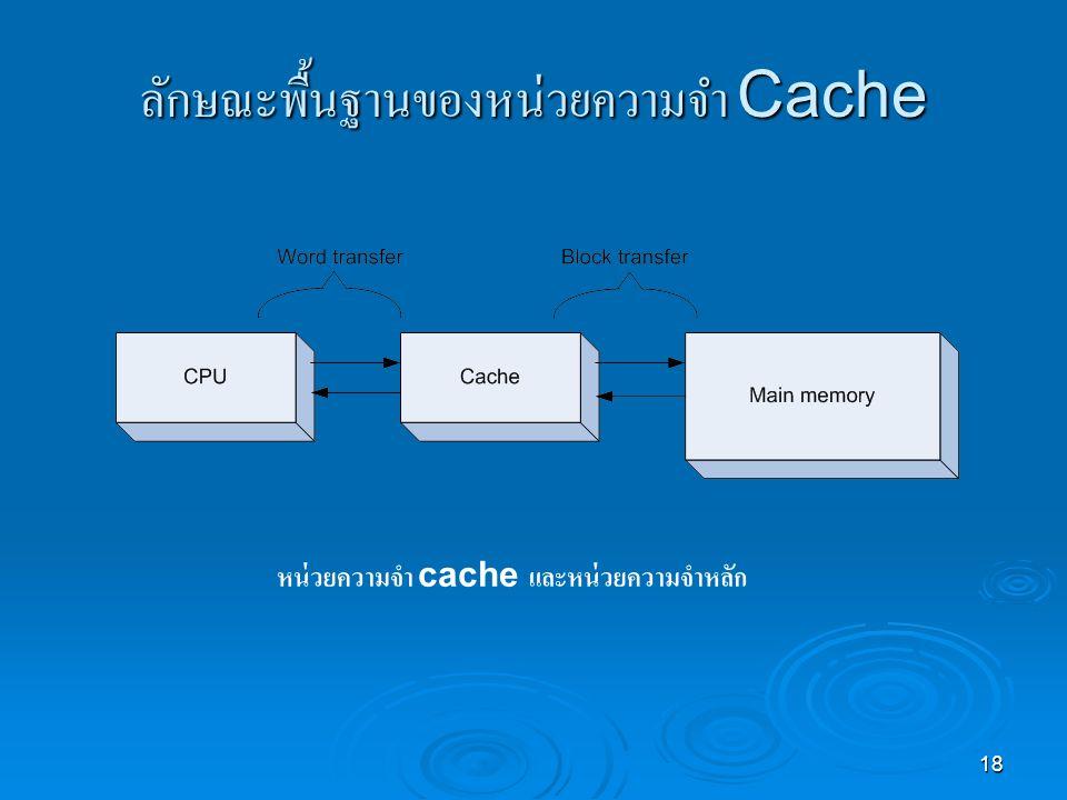 18 ลักษณะพื้นฐานของหน่วยความจำ Cache หน่วยความจำ cache และหน่วยความจำหลัก