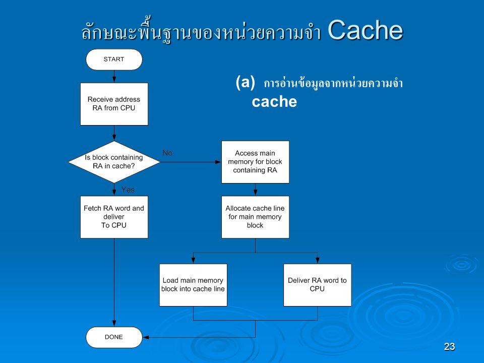 23 ลักษณะพื้นฐานของหน่วยความจำ Cache (a) การอ่านข้อมูลจากหน่วยความจำ cache
