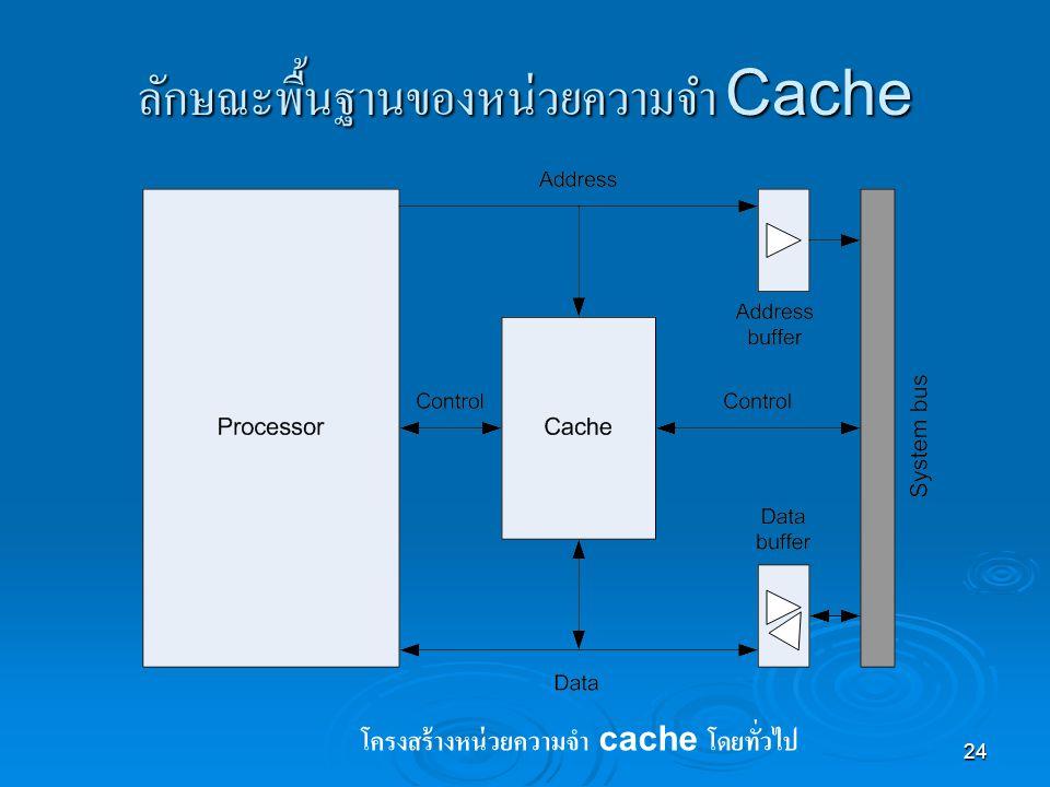 24 ลักษณะพื้นฐานของหน่วยความจำ Cache โครงสร้างหน่วยความจำ cache โดยทั่วไป