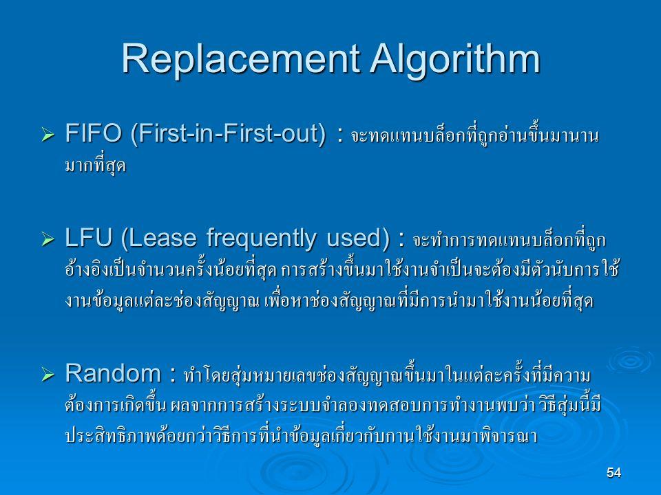 54 Replacement Algorithm  FIFO (First-in-First-out) : จะทดแทนบล็อกที่ถูกอ่านขึ้นมานาน มากที่สุด  LFU (Lease frequently used) : จะทำการทดแทนบล็อกที่ถูก อ้างอิงเป็นจำนวนครั้งน้อยที่สุด การสร้างขึ้นมาใช้งานจำเป็นจะต้องมีตัวนับการใช้ งานข้อมูลแต่ละช่องสัญญาณ เพื่อหาช่องสัญญาณที่มีการนำมาใช้งานน้อยที่สุด  Random : ทำโดยสุ่มหมายเลขช่องสัญญาณขึ้นมาในแต่ละครั้งที่มีความ ต้องการเกิดขึ้น ผลจากการสร้างระบบจำลองทดสอบการทำงานพบว่า วิธีสุ่มนี้มี ประสิทธิภาพด้อยกว่าวิธีการที่นำข้อมูลเกี่ยวกับกานใช้งานมาพิจารณา