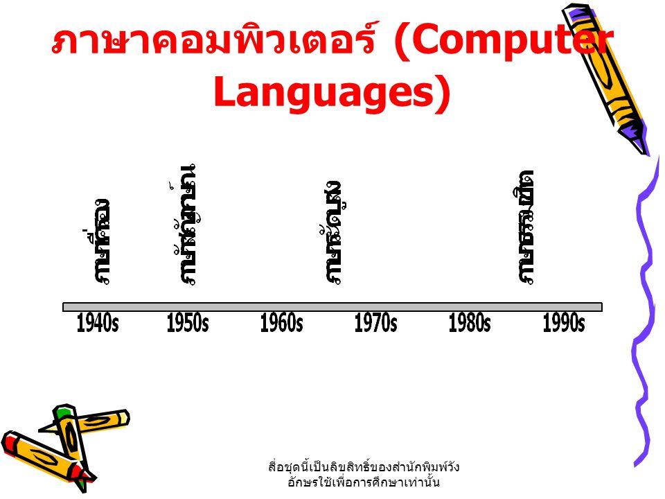 สื่อชุดนี้เป็นลิขสิทธิ์ของสำนักพิมพ์วัง อักษรใช้เพื่อการศึกษาเท่านั้น ภาษาคอมพิวเตอร์ (Computer Languages)
