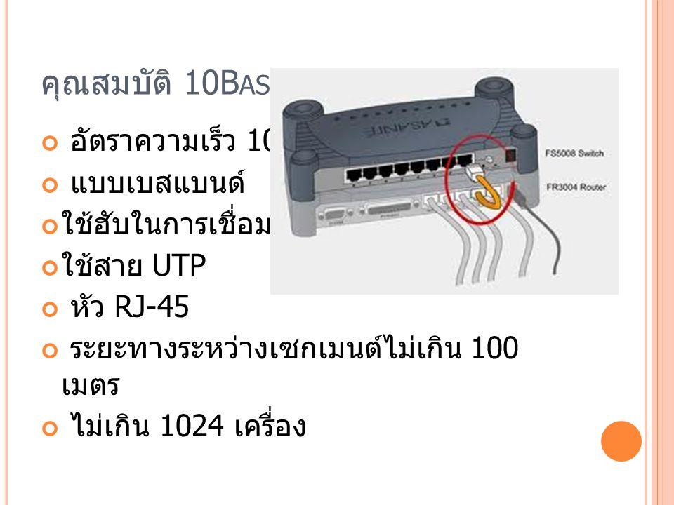 คุณสมบัติ 10B ASE -T อัตราความเร็ว 10Mbps แบบเบสแบนด์ ใช้ฮับในการเชื่อมโยง ใช้สาย UTP หัว RJ-45 ระยะทางระหว่างเซกเมนต์ไม่เกิน 100 เมตร ไม่เกิน 1024 เครื่อง