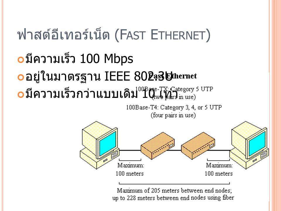 ฟาสต์อีเทอร์เน็ต (F AST E THERNET ) มีความเร็ว 100 Mbps อยู่ในมาตรฐาน IEEE 802.3U มีความเร็วกว่าแบบเดิม 10 เท่า