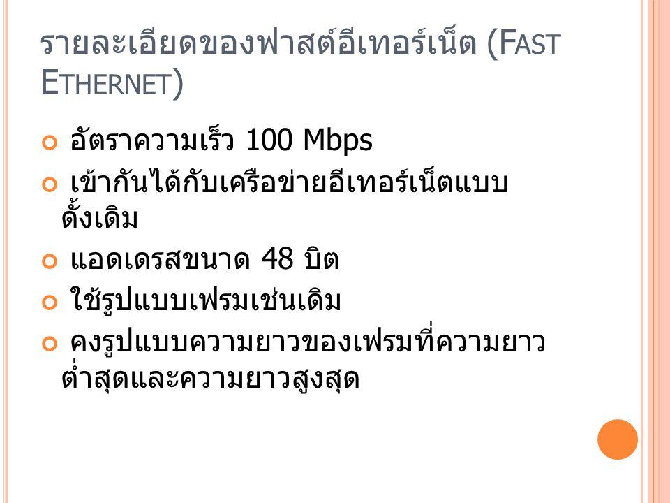รายละเอียดของฟาสต์อีเทอร์เน็ต (F AST E THERNET ) อัตราความเร็ว 100 Mbps เข้ากันได้กับเครือข่ายอีเทอร์เน็ตแบบ ดั้งเดิม แอดเดรสขนาด 48 บิต ใช้รูปแบบเฟรมเช่นเดิม คงรูปแบบความยาวของเฟรมที่ความยาว ต่ำสุดและความยาวสูงสุด