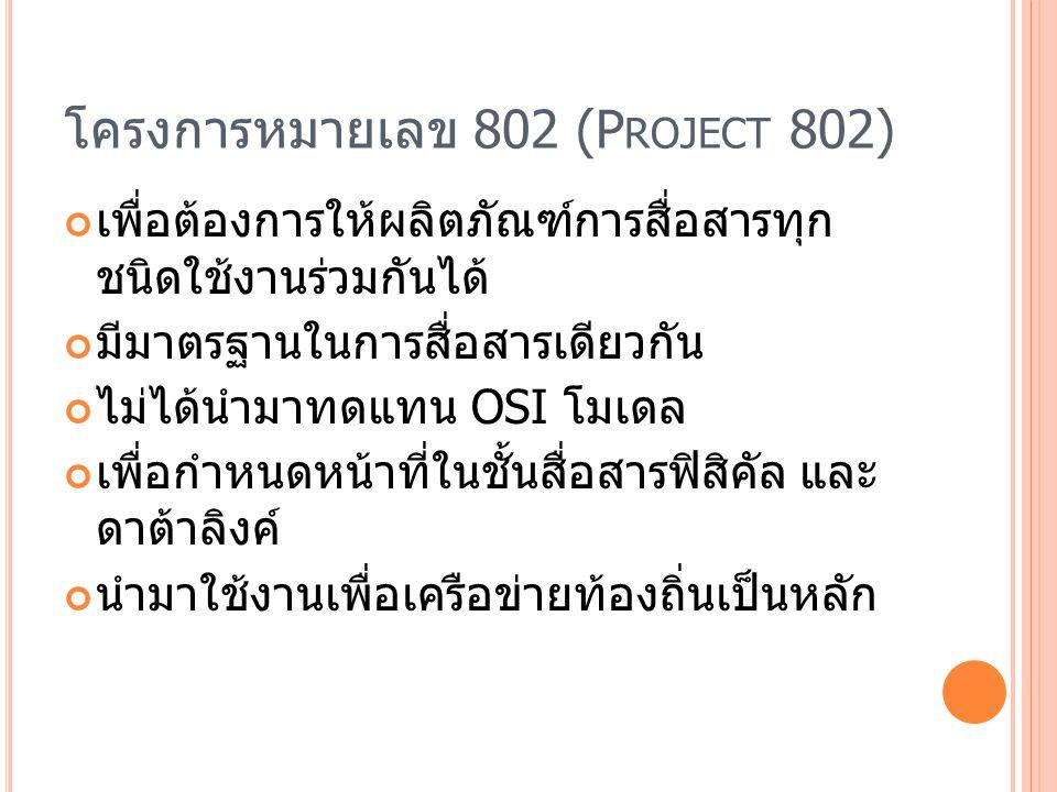 ความสัมพันธ์ของโครงการ 802 กับ OSI โมเดล