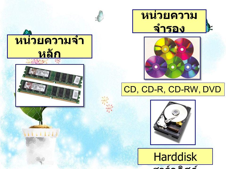 หน่วยความ จำรอง Harddisk ฮาร์ดดิสก์ CD, CD-R, CD-RW, DVD หน่วยความจำ หลัก