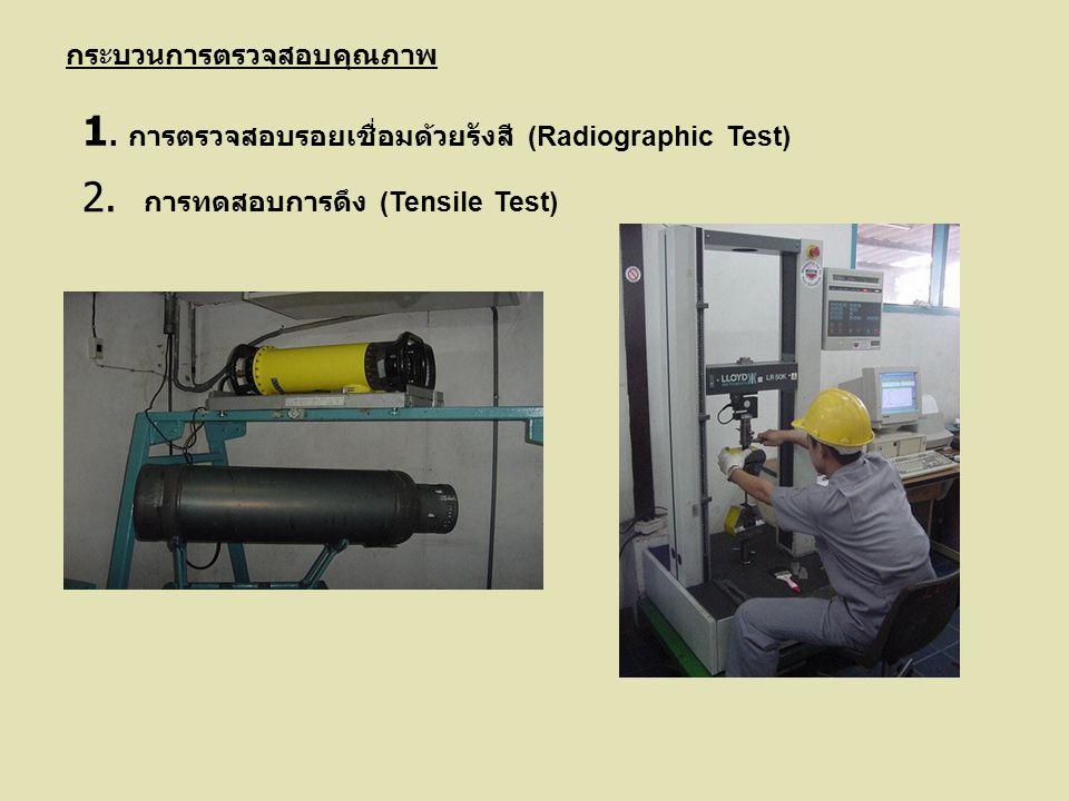 กระบวนการตรวจสอบคุณภาพ 1. การตรวจสอบรอยเชื่อมด้วยรังสี (Radiographic Test) 2. การทดสอบการดึง (Tensile Test)