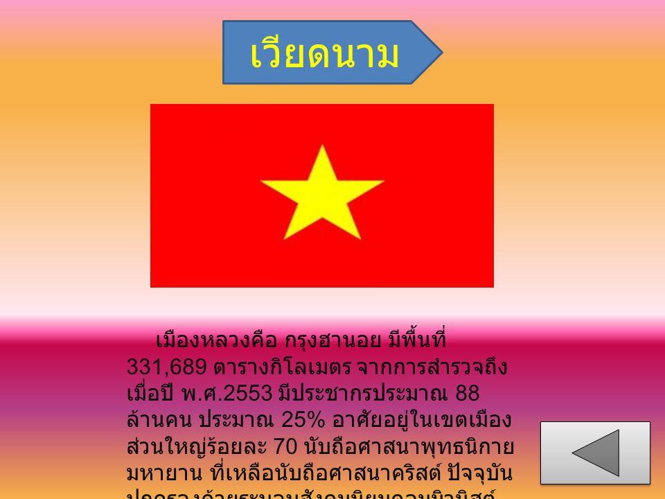 เวียดนาม เมืองหลวงคือ กรุงฮานอย มีพื้นที่ 331,689 ตารางกิโลเมตร จากการสำรวจถึง เมื่อปี พ. ศ.2553 มีประชากรประมาณ 88 ล้านคน ประมาณ 25% อาศัยอยู่ในเขตเม