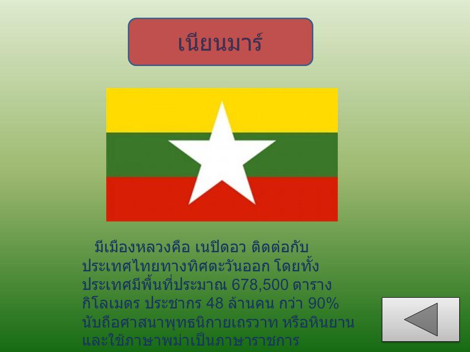 เนียนมาร์ มีเมืองหลวงคือ เนปิดอว ติดต่อกับ ประเทศไทยทางทิศตะวันออก โดยทั้ง ประเทศมีพื้นที่ประมาณ 678,500 ตาราง กิโลเมตร ประชากร 48 ล้านคน กว่า 90% นับ