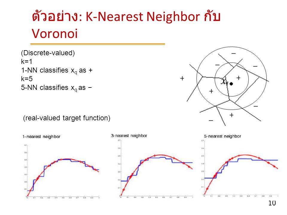 10 ตัวอย่าง : K-Nearest Neighbor กับ Voronoi (Discrete-valued) k=1 1-NN classifies x q as + k=5 5-NN classifies x q as − (real-valued target function)