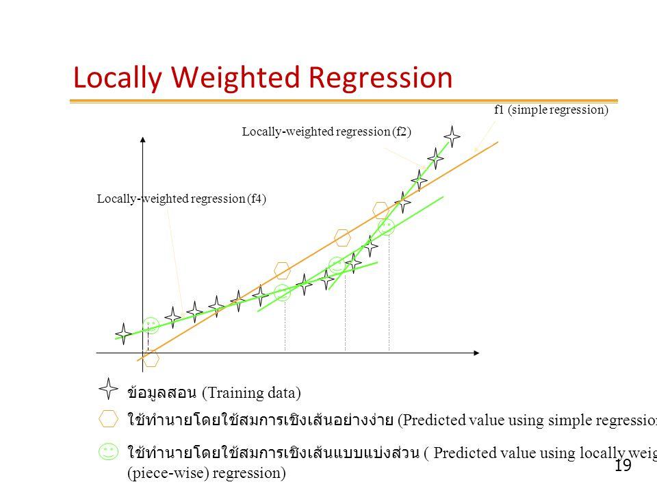 19 Locally Weighted Regression f1 (simple regression) ข้อมูลสอน (Training data) ใช้ทำนายโดยใช้สมการเชิงเส้นแบบแบ่งส่วน ( Predicted value using locally