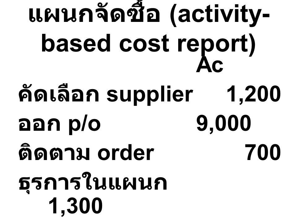 แผนกจัดซื้อ (activity- based cost report) Ac คัดเลือก supplier1,200 ออก p/o9,000 ติดตาม order 700 ธุรการในแผนก 1,300